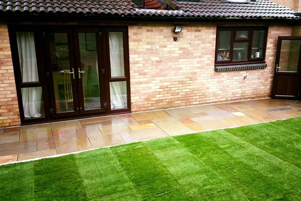 Patio paving and new lawn