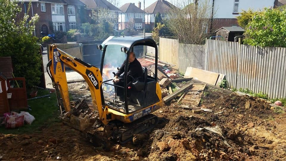 Our Mini Digger/Excavator in Garden Landscaping Action