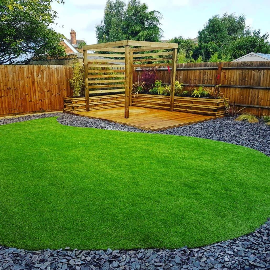 Solent garden services landscaping gardeners decking for Garden decking and grass