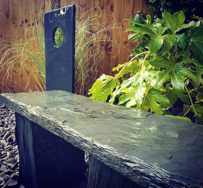 Slate Bench & Sculpture