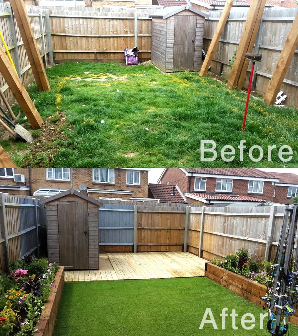 Artificial lawns can look great as this job example before and after photo shows