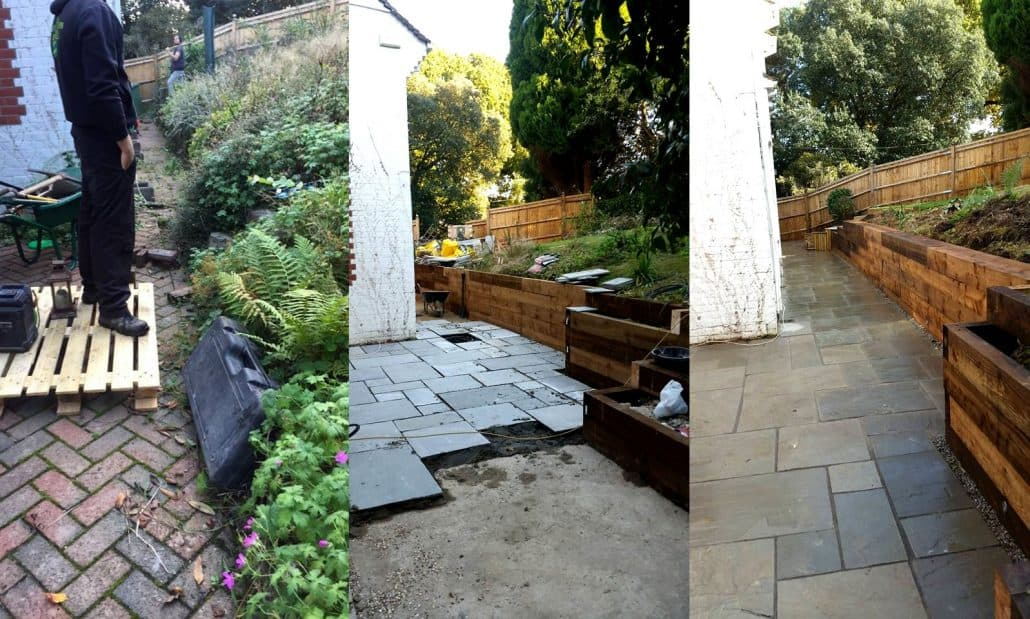 Cherry Field garden redesign; before, during and after work