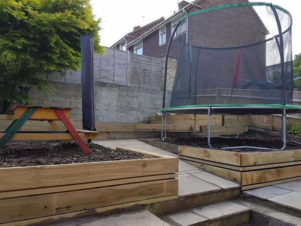 Timber and sandstone paving garden landscaping design