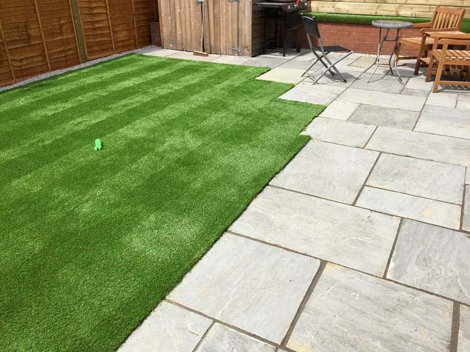 New Promenade Sandstone Paving and Namgrass Artificial Lawn Grass in Weston, Southampton