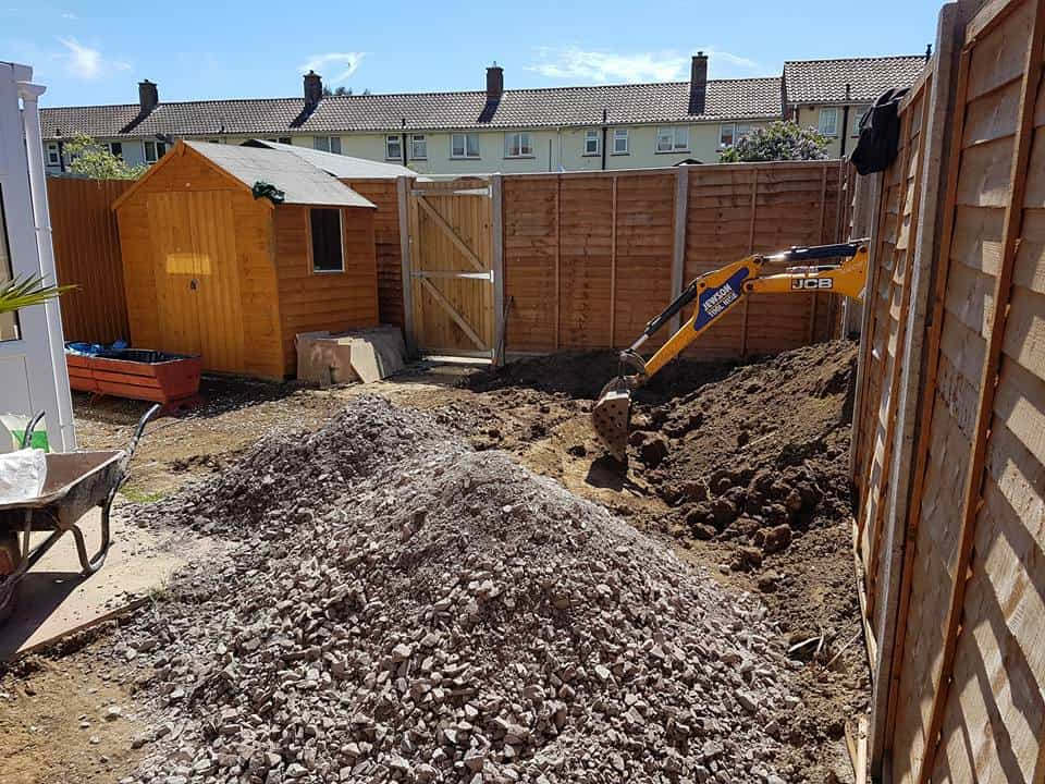 Removing soil as part of our Gosport garden landscaping project