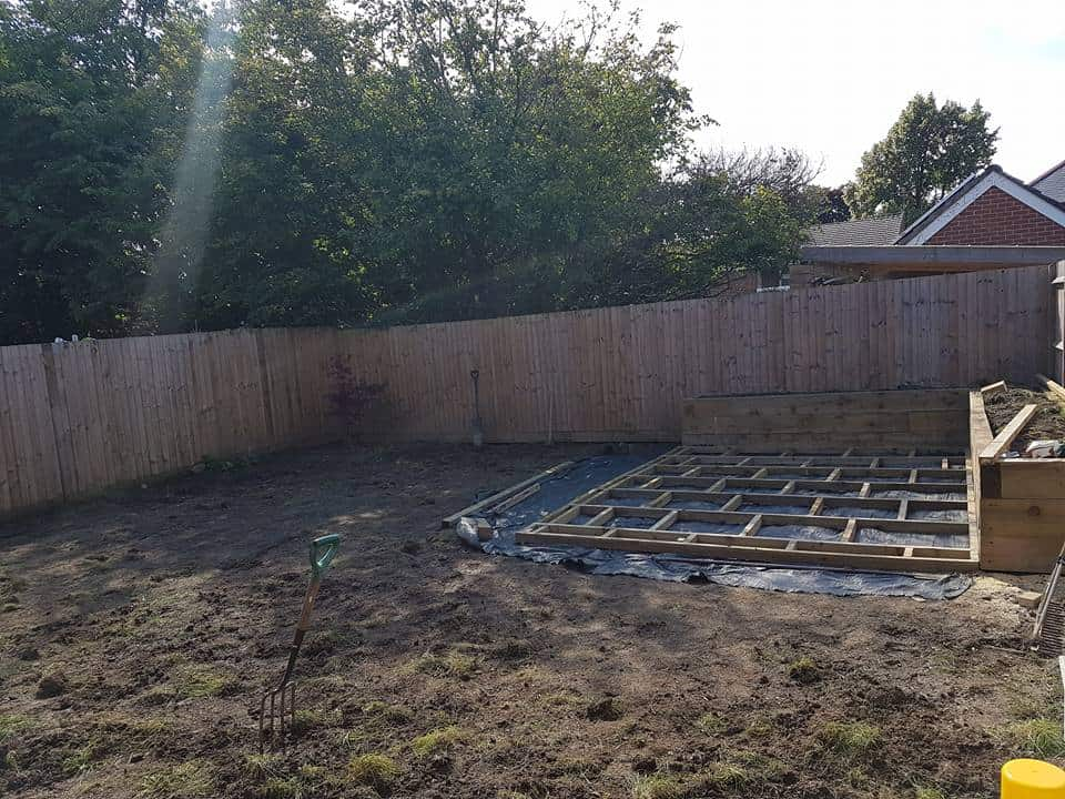 Ground Prep with Raised Beds and Decking