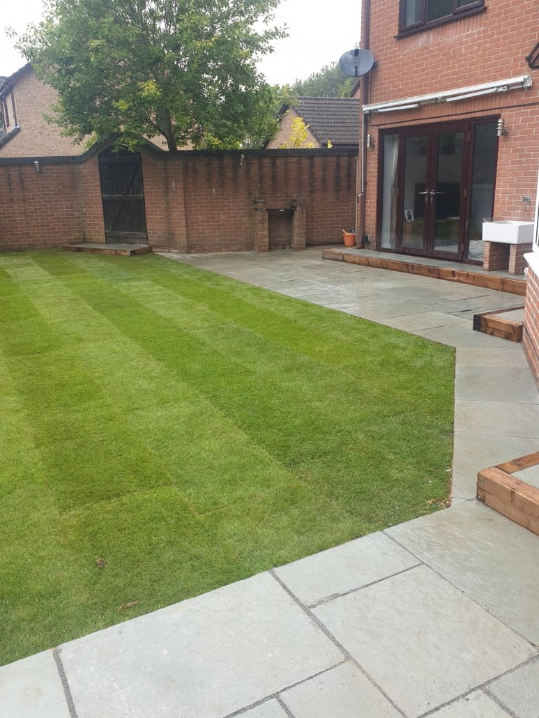 A finished new lawn with our garden turfing service