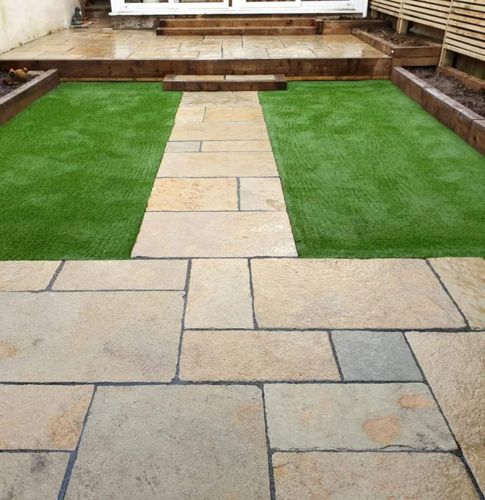 Garden Patio Design with Artificial Grass